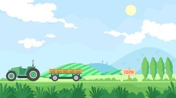 Hayride va à la ferme vecteur libre