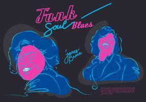 James Brown Musicien Funk Soul Blues affiche vecteur Illustration