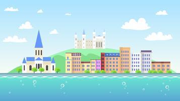 Vue de Lyon depuis la rivière vecteur libre