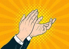 Popart mains applaudir vecteur
