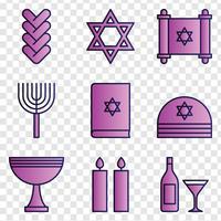 Icônes de Hanoucca Shalom vecteur