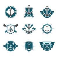 frais, marine, cachet, badges, collection vecteur