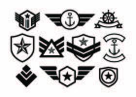 Vecteur de collection gratuit Badge militaire