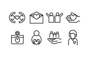 Pack d'icônes de charité vecteur
