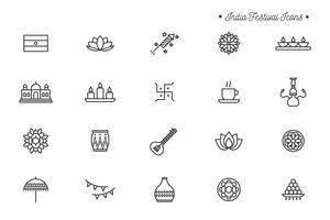 Icônes gratuites du Festival de l'Inde vecteur