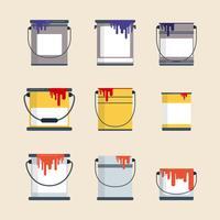 Vecteurs de pot de peinture plate