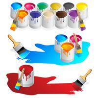 Pot de peinture et éclaboussures de vecteurs