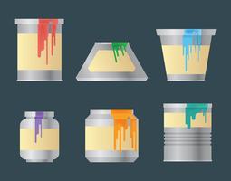 Icônes de vecteur de pot de peinture