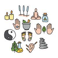 Doodles de médecine alternative vecteur