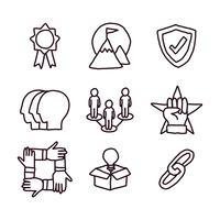 Responsabilité sociale Icônes Doodled