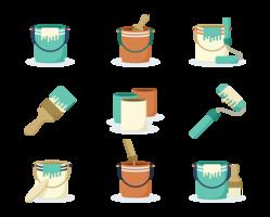 Vecteur de pot d'icônes de peinture