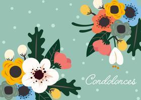 Carte florale pour vecteur de condoléances