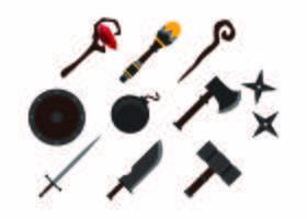 Vecteur d'icône d'armes gratuites de jeux colorés