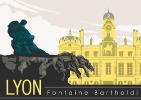 Fontaine Bartholdi à Lyon Vector