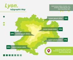 Carte infographique de Lyon vecteur