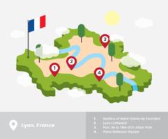 Carte isométrique de Lyon vecteur