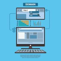 Domaine avec PC Illustration d'élément vectoriel