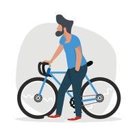 homme marche avec un vélo