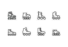 Rollerblade set d'icônes linéaires vecteur