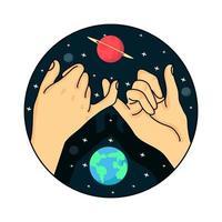 les mains promettent sur le vecteur spatial