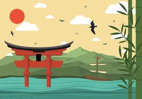 Sanctuaire Torii Illustration Vecteur libre