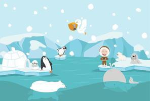 dessin animé, pôle nord, paysage arctique