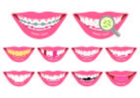 Ensemble d'icônes de fausses dents vecteur