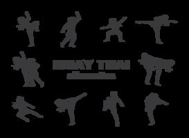Vecteur de silhouettes de Muay Thai