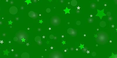 fond vert clair avec des cercles, des étoiles. vecteur
