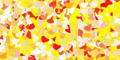 fond rouge clair, jaune avec des formes aléatoires.