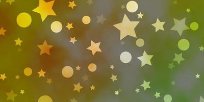 fond vert clair, jaune avec des cercles, des étoiles.