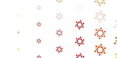 texture rouge et jaune clair avec des symboles de la maladie.