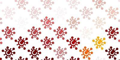 toile de fond rouge et jaune clair avec des symboles de virus.