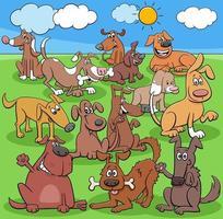 groupe de personnages de chiens et chiots de dessin animé