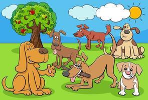 Groupe de personnages de dessins animés de chiens et chiots drôles