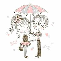 mignon garçon et fille sous le parapluie. rendez-vous