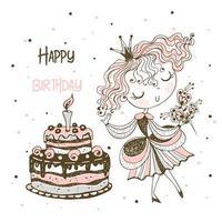 princesse et un grand gâteau d'anniversaire. carte d'anniversaire