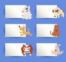 ensemble d'éléments de conception de dessin animé de chiens et de cartes
