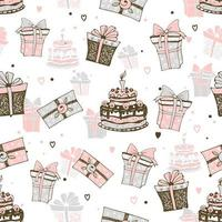 thème d'anniversaire avec des gâteaux et des cadeaux