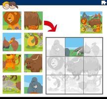 jeu de puzzle avec des personnages d'animaux de dessin animé vecteur