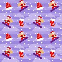 noël mignon père noël boîte cadeau planche à neige motif violet