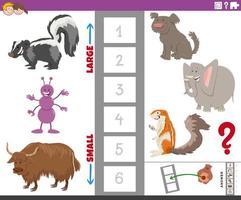 jeu éducatif avec de grandes et petites espèces animales vecteur