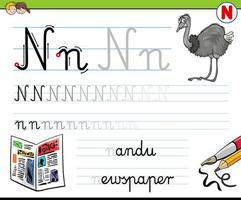comment écrire un classeur lettre n pour les enfants vecteur