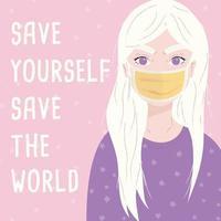 jeune fille portant un masque chirurgical.