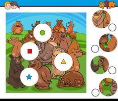 Match pièces puzzle avec groupe de personnages ours vecteur