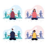 personnes faisant du yoga dans le parc