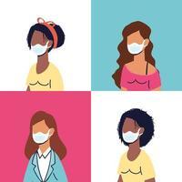 divers personnages féminins portant des masques faciaux