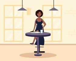 jeune femme assise dans un restaurant vecteur