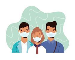 personnages de personnes diverses portant des masques faciaux
