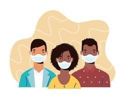 Personnages de personnes de la diversité portant des masques faciaux